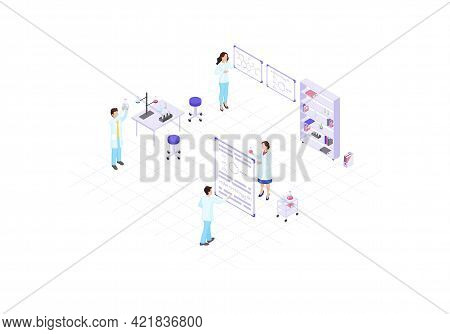 Scientists, Chemists, Academics, Research Workers Isometric Color Vector Illustration. People Making