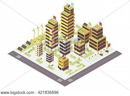 Eco City Isometric Color Vector Illustration. Commercial Buildings With Plants On Roof Infographic.