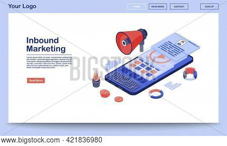 Inbound Marketing Landing Page Template. Media Advertising Website Interface With Flat Illustrations
