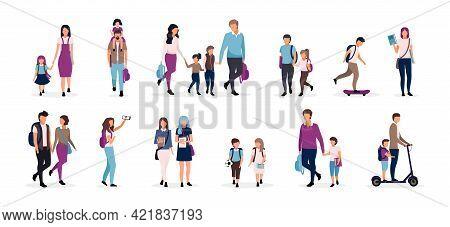Back To School Flat Vector Illustrations Set. Preteen And Teenage Schoolkids, Schoolchildren. Parent