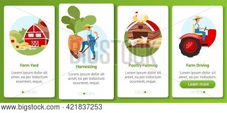 Farming And Agriculture Onboarding Mobile App Screen Vector Template. Farmyard, Harvest, Poultry Far