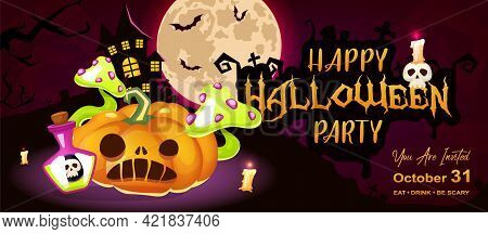 Happy Halloween Party Flat Banner Vector Template. October Holiday Event Invitation Card Design Layo