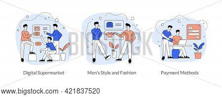 Commerce And Trade In Internet Flat Linear Vector Illustration Set. Digital Supermarket, Men S Style