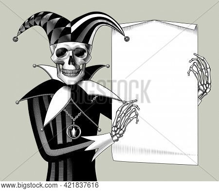 Engraved human skeleton in a Joker suit with a paper sheet banner in the hands. Vintage engraving black and white stylized drawing