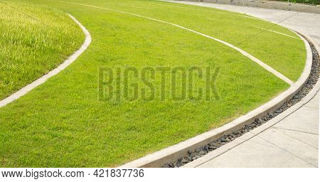 Smooth Green Grass Lawn As A Carpet In Garden Backyard, Good Care Maintenance Landscapes Decorated W