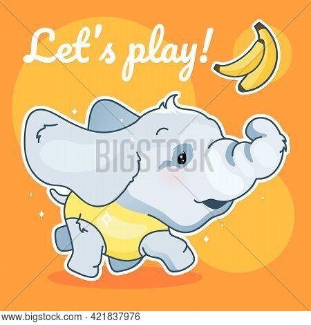 Cute Elephant Kawaii Character Social Media Post Mockup. Lets Play Lettering. Positive Poster, Card