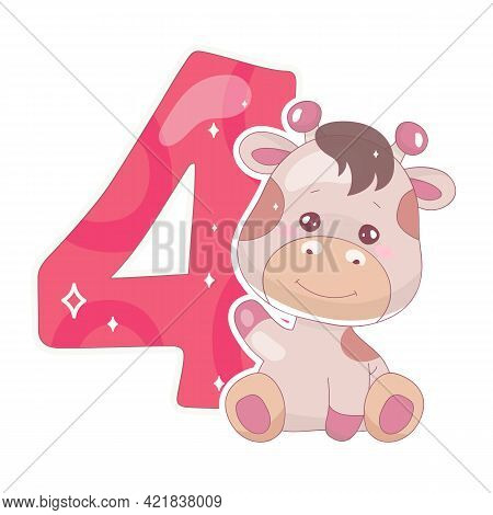 Cute Four Number With Baby Giraffe Cartoon Illustration. School Math Funny Font Symbol And Kawaii An