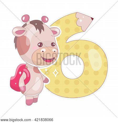 Cute Six Number With Baby Giraffe Cartoon Illustration. School Math Funny Font Symbol And Kawaii Ani