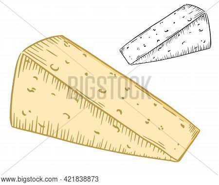 Piece Of Cheese Triangular Shape, Vector. Part Of A Hard Cheese Head. Milk Processing Product. Produ