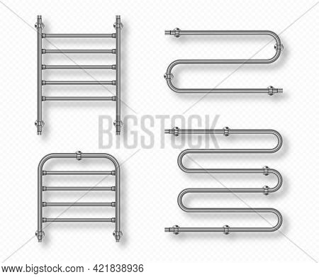 Towel Rails For Home Bathroom And Toilet Room. Dryer With Steel Pipes, Chrome Radiators Isolated On