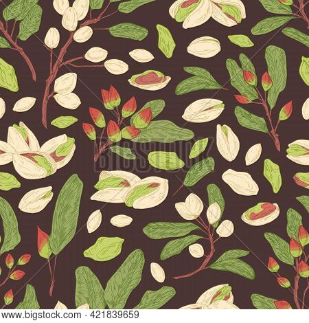 Seamless Pistachio Pattern With Nuts, Shells, Branches And Leaves. Endless Texture With Realistic Pi