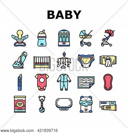 Baby Shop Selling Tool Collection Icons Set Vector. Baby Diaper And Sterilizer Bottles Device, Newbo