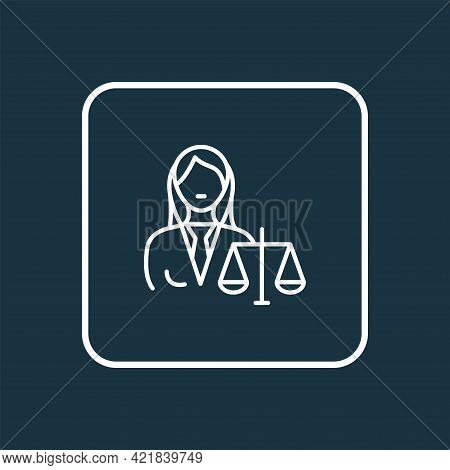 Judgment Icon Line Symbol. Premium Quality Isolated Lawyer Woman Element In Trendy Style.