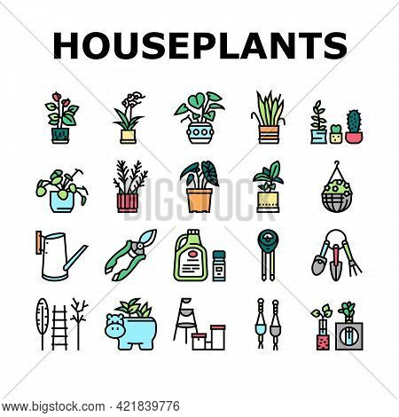 Houseplant Store Sale Collection Icons Set Vector. Potting Houseplant And Cactus, Leaves Tree And Fl