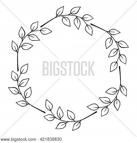 Round Frame Of Twigs With Leaves. Hand Drawn Laurel Wreath Doodle Black Outline. Design Element For