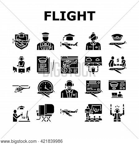 Flight School Educate Collection Icons Set Vector. Flight Courses Education For Prepare Pilot And Ai
