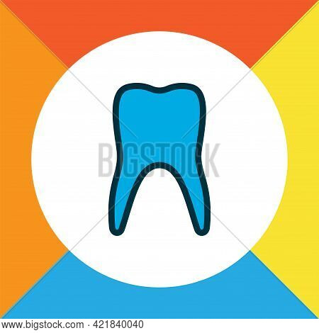 Tooth Icon Colored Line Symbol. Premium Quality Isolated Enamel Element In Trendy Style.