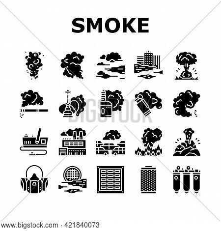 Smoke And Fog Steam Collection Icons Set Vector. Transport Car And Urban, Vape And Tobacco Smoke, Ai