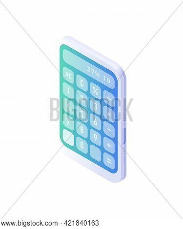 Electronic Calculator Isometric Vector. Computing Device With White Body And Blue Panel For Financia