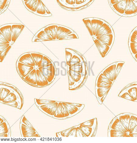 Seamless Pattern With Orange Slices And Sections. Endless Repeatable Fruity Design For Printing. Han