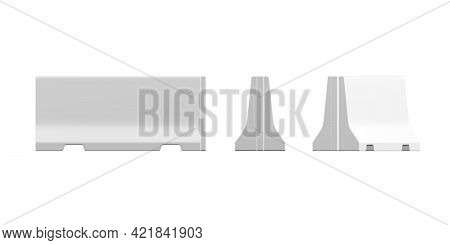 Concrete Barricade Mockup Isolated On White Background - 3d Render