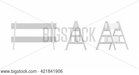 A-frame Barricade Mockup Isolated On White Background - 3d Render