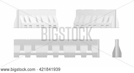 Water Filled Barricade Mockup Isolated On White Background - 3d Render