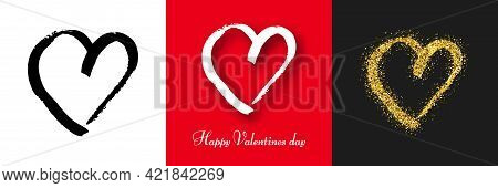 Hand Drawn Brush Hearts. Set Of Three Grunge Black Doodle Heart, White Grunge Doodle Heart With Shad