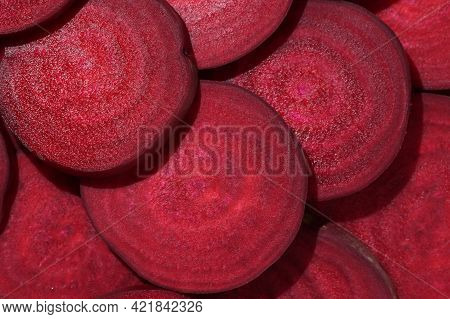 Closeup Healthy Sliced Red Beet Root, Close Up