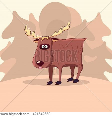 Cute Cartoon Elk With Horns, In The Background A Simple Forest Landscape With Trees. Wild Animal Moo