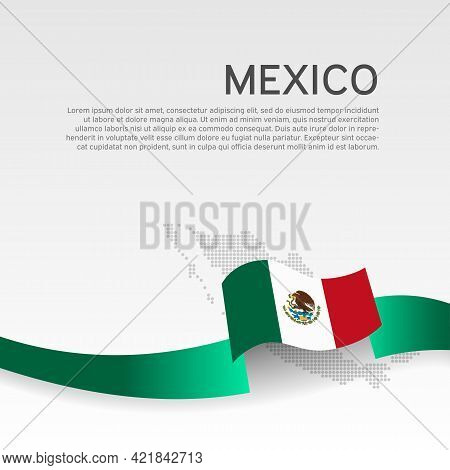 Mexico Flag, Mosaic Map On White Background. Vector Banner Design, Mexico National Poster. Cover For