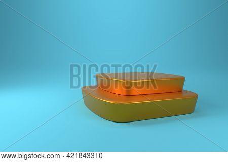 Golden Podium On A Blue Background, 3d Rendering