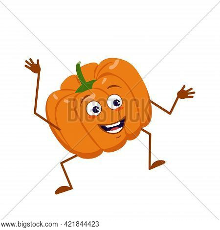 Cute Pumpkin Character With Joy Emotions, Smiling Face, Happy Eyes, Arms And Legs. Festive Decoratio