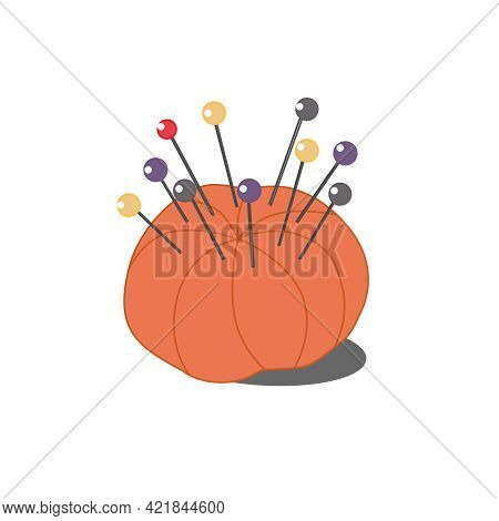 Needle Holder With Pins For Needlework. Color Vector Illustration Isolated On A White Background.