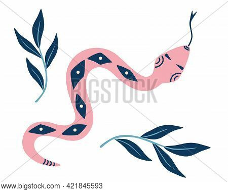 Magic Snake In Boho Style. Magic Illustration For Spiritual Practices Of Ethnic Magic And Astrologic