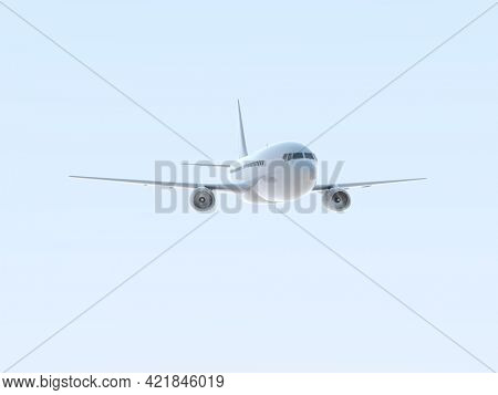 CommercialPassenger Plane in Airin Sky, VacationTravel by Air Transport,AirlinerTake OffFlying,Aircraft Flight andAviationRouteAirline Sign, Aviation Cargo Service3d Illustration