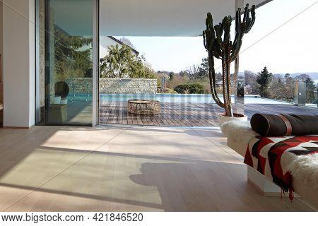 Cologne, Germany - August 24 2020: Villa Terrace In Summer Garden. Modern Villa Exterior
