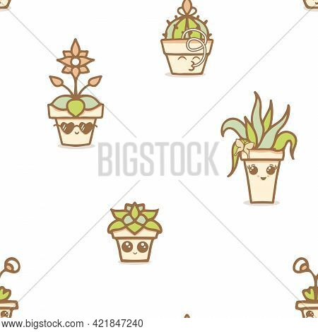Vector Fun Kawaii House Plants In Terracotta Pots On White Seamless Pattern Background. Perfect For