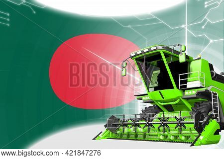 Agriculture Innovation Concept, Green Advanced Farm Combine Harvester On Bangladesh Flag - Digital I