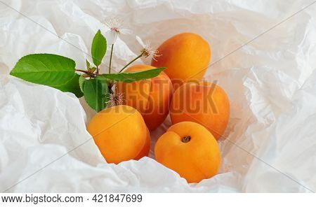 Apricots Fruit On On A Sheet Of Crumpled Packaging Made Of White Paper, Zero Waste Concept, Close Up