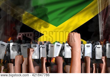 Revolt Stopping Concept - Protest In Jamaica On Flag Background, Police Special Forces Stand Against