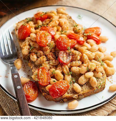White Bean And Tomato Ragout On Toast, White Beans, Vegetable Bouillon Powder, Italian Herbs, Whole