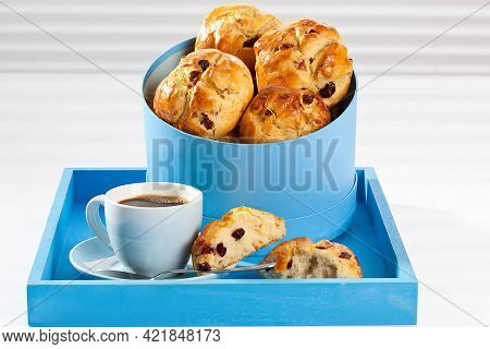 Cranberry Scones With Cup Of Tea On Wooden Tray, Close Up