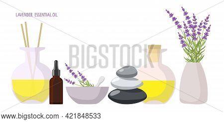 Organic And Natural Cosmetics. Aroma Diffuser, Medicinal Plants Bouquet, Balance Stones, Aroma Oil,