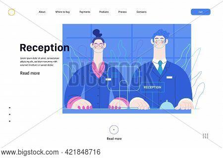 Hospital Reception - Medical Insurance Web Template. Modern Flat Vector