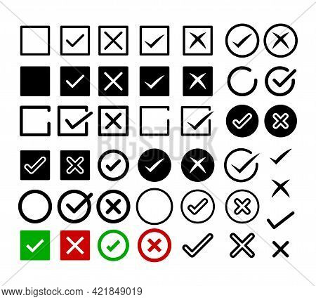 Check Mark Icon Set. Right And Wrong Symbol.