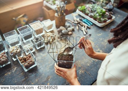 Florist Adding The Potting Mix To A Polyhedron Terrarium Container