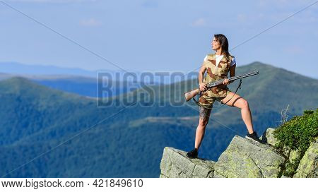 Army Forces. Woman Military Outfit Hold Weapon Highlands Background. Girl Military Warrior Rifle. Br