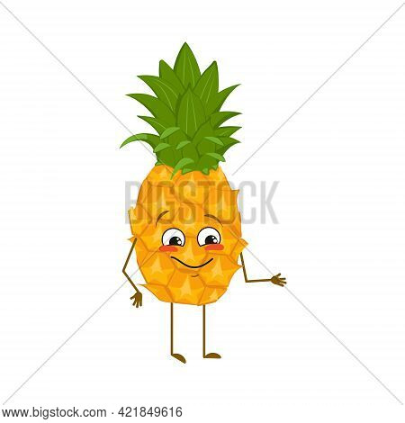 Cute Pineapple Character With Joy Emotions, Smiling Face, Happy Eyes, Arms And Legs. A Mischievous E