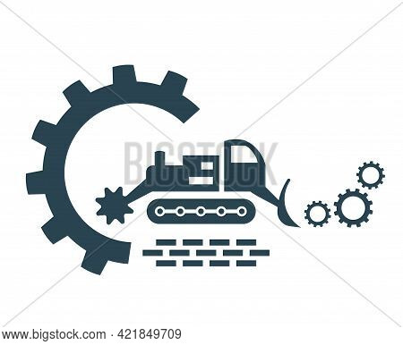 Vector Illustration, Icon, Logo Of An All-terrain Vehicle Cleaning Landscape .  Isolated.
